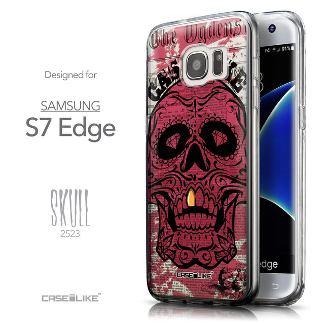 Front & Side View - CASEiLIKE Samsung Galaxy S7 Edge back cover Art of Skull 2523