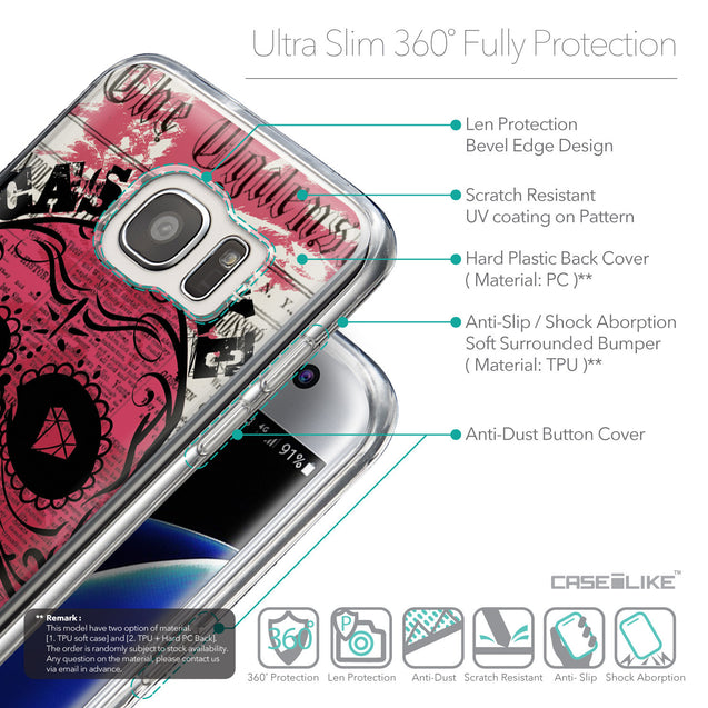 Details in English - CASEiLIKE Samsung Galaxy S7 Edge back cover Art of Skull 2523