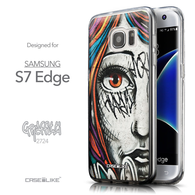 Front & Side View - CASEiLIKE Samsung Galaxy S7 Edge back cover Graffiti Girl 2724