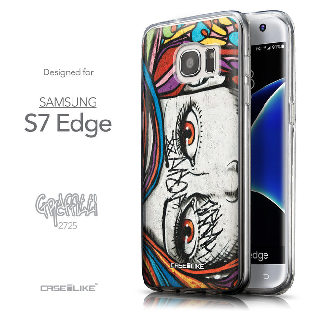 Front & Side View - CASEiLIKE Samsung Galaxy S7 Edge back cover Graffiti Girl 2725