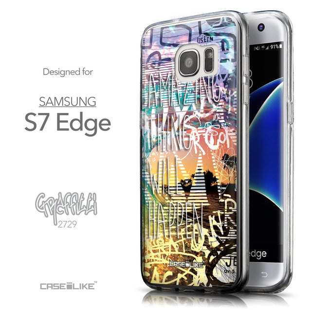 Front & Side View - CASEiLIKE Samsung Galaxy S7 Edge back cover Graffiti 2729