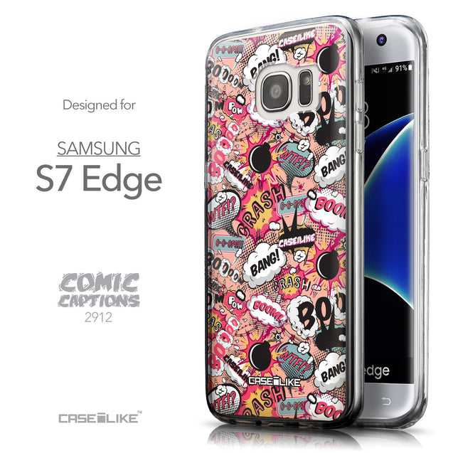 Front & Side View - CASEiLIKE Samsung Galaxy S7 Edge back cover Comic Captions Pink 2912