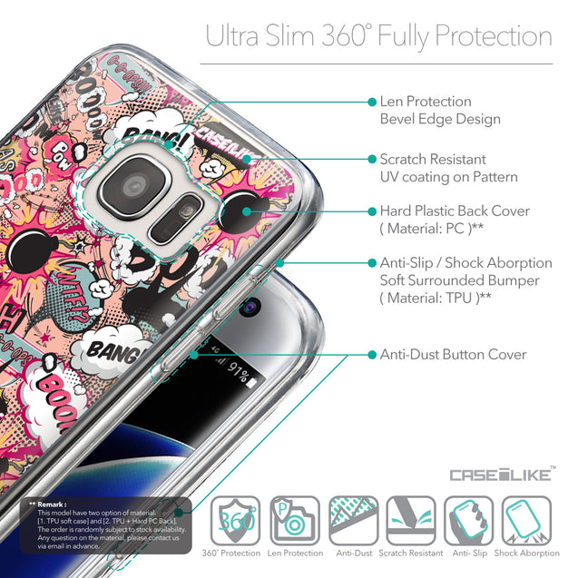 Details in English - CASEiLIKE Samsung Galaxy S7 Edge back cover Comic Captions Pink 2912