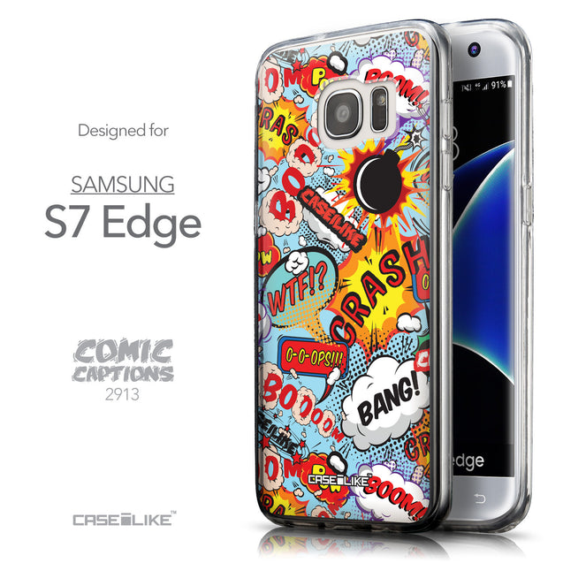 Front & Side View - CASEiLIKE Samsung Galaxy S7 Edge back cover Comic Captions Blue 2913