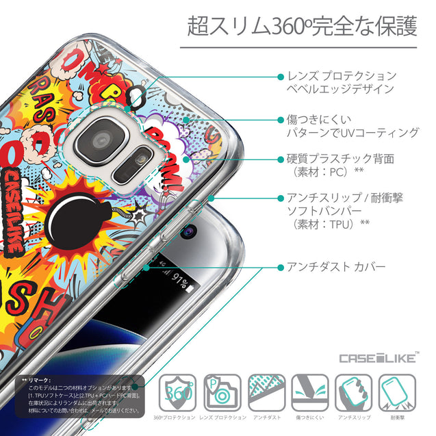 Details in Japanese - CASEiLIKE Samsung Galaxy S7 Edge back cover Comic Captions Blue 2913