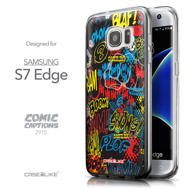 Front & Side View - CASEiLIKE Samsung Galaxy S7 Edge back cover Comic Captions Black 2915