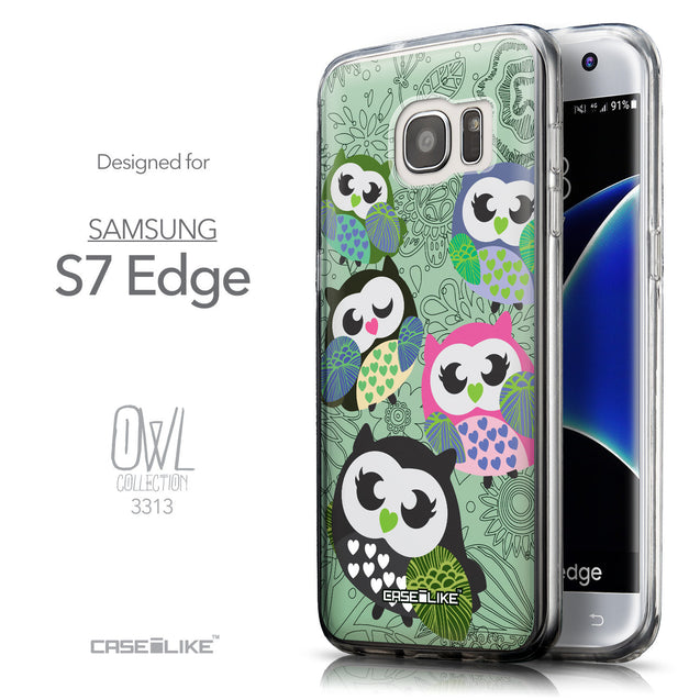 Front & Side View - CASEiLIKE Samsung Galaxy S7 Edge back cover Owl Graphic Design 3313