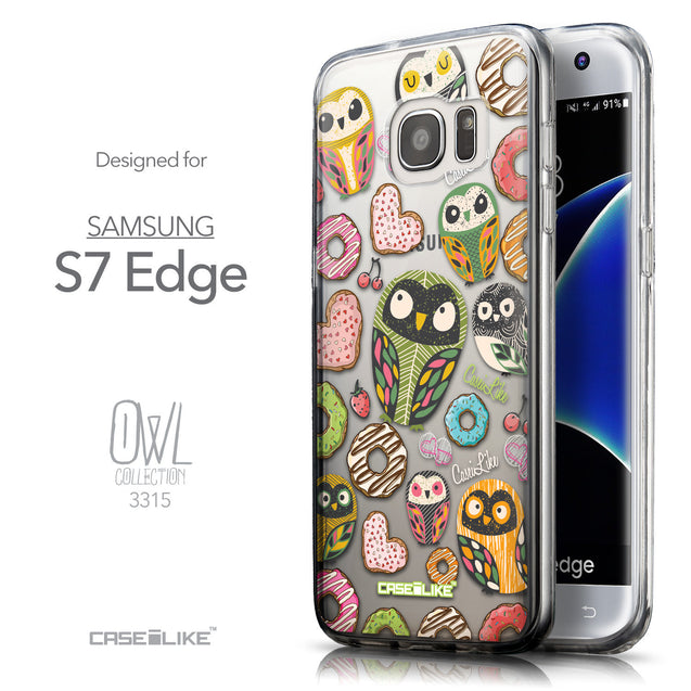Front & Side View - CASEiLIKE Samsung Galaxy S7 Edge back cover Owl Graphic Design 3315