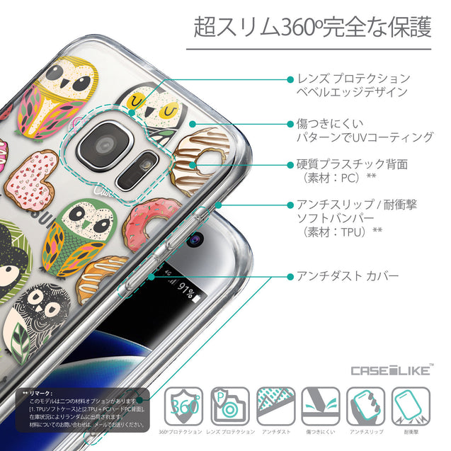 Details in Japanese - CASEiLIKE Samsung Galaxy S7 Edge back cover Owl Graphic Design 3315