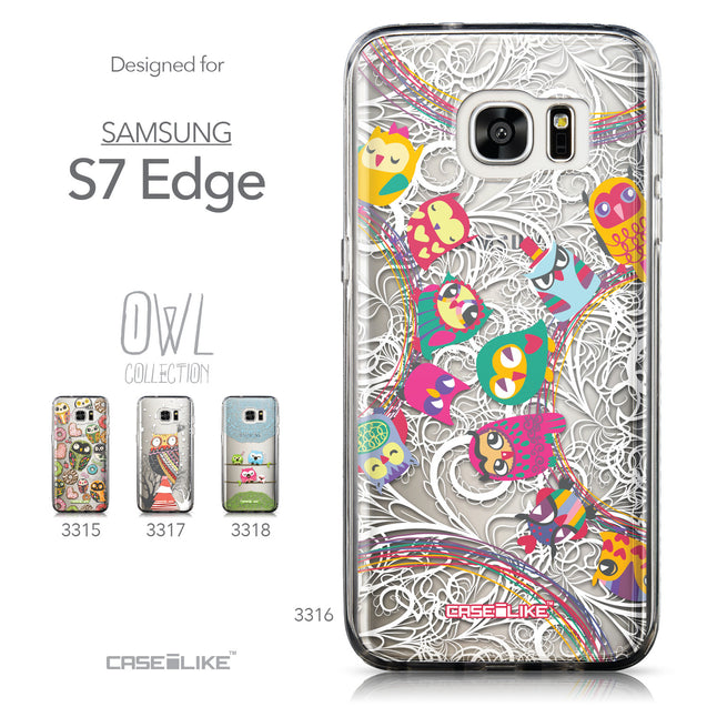 Collection - CASEiLIKE Samsung Galaxy S7 Edge back cover Owl Graphic Design 3316