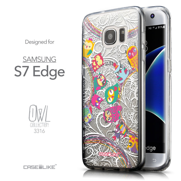 Front & Side View - CASEiLIKE Samsung Galaxy S7 Edge back cover Owl Graphic Design 3316