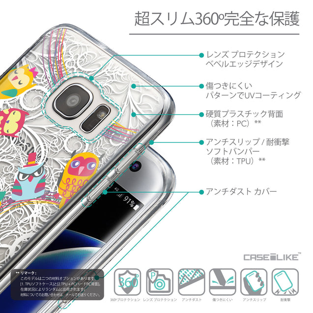 Details in Japanese - CASEiLIKE Samsung Galaxy S7 Edge back cover Owl Graphic Design 3316