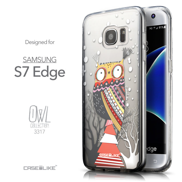Front & Side View - CASEiLIKE Samsung Galaxy S7 Edge back cover Owl Graphic Design 3317