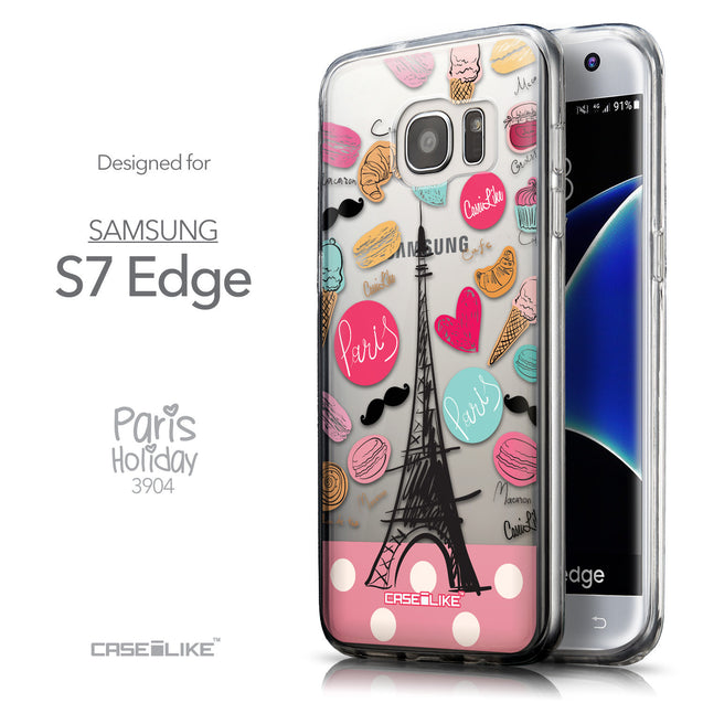 Front & Side View - CASEiLIKE Samsung Galaxy S7 Edge back cover Paris Holiday 3904
