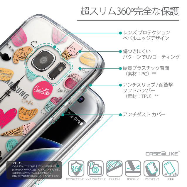 Details in Japanese - CASEiLIKE Samsung Galaxy S7 Edge back cover Paris Holiday 3904