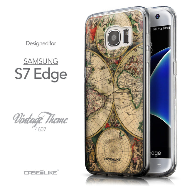 Front & Side View - CASEiLIKE Samsung Galaxy S7 Edge back cover World Map Vintage 4607