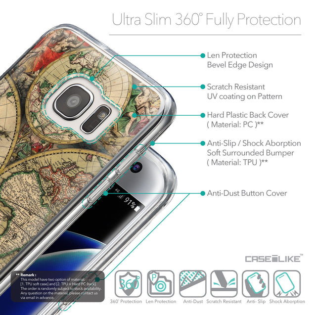 Details in English - CASEiLIKE Samsung Galaxy S7 Edge back cover World Map Vintage 4607