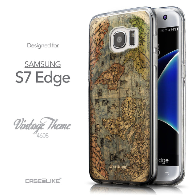 Front & Side View - CASEiLIKE Samsung Galaxy S7 Edge back cover World Map Vintage 4608