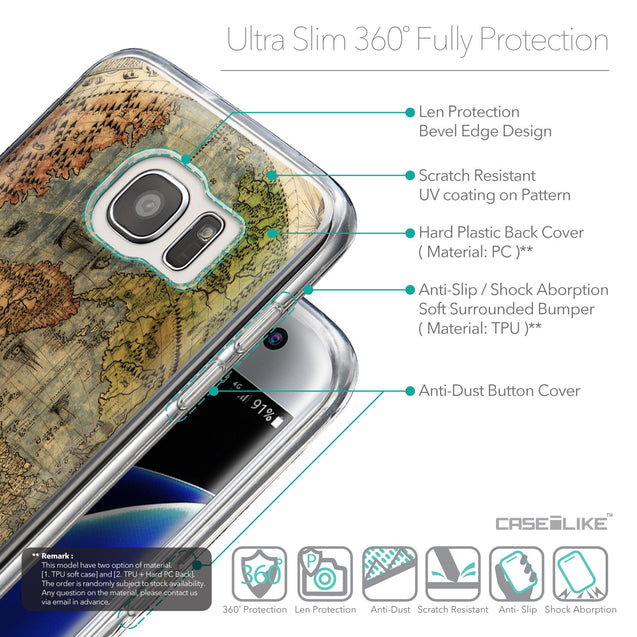 Details in English - CASEiLIKE Samsung Galaxy S7 Edge back cover World Map Vintage 4608