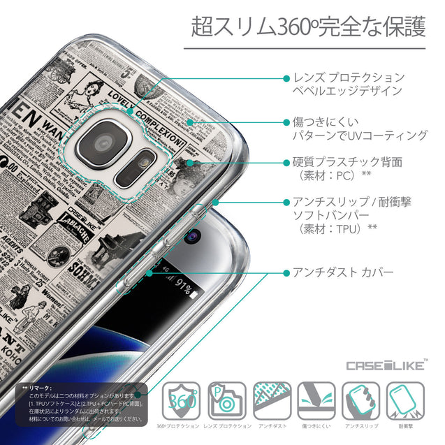 Details in Japanese - CASEiLIKE Samsung Galaxy S7 Edge back cover Vintage Newspaper Advertising 4818