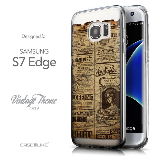 Front & Side View - CASEiLIKE Samsung Galaxy S7 Edge back cover Vintage Newspaper Advertising 4819