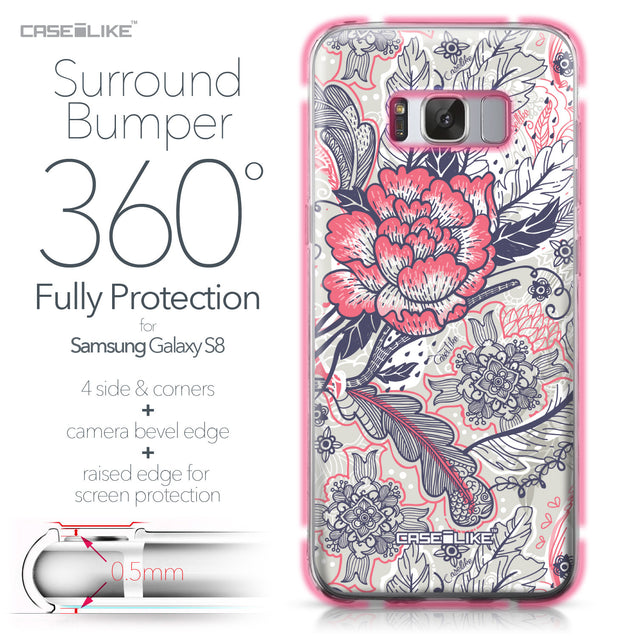 Samsung Galaxy S8 case Vintage Roses and Feathers Beige 2251 Bumper Case Protection | CASEiLIKE.com