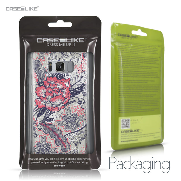 Samsung Galaxy S8 case Vintage Roses and Feathers Beige 2251 Retail Packaging | CASEiLIKE.com