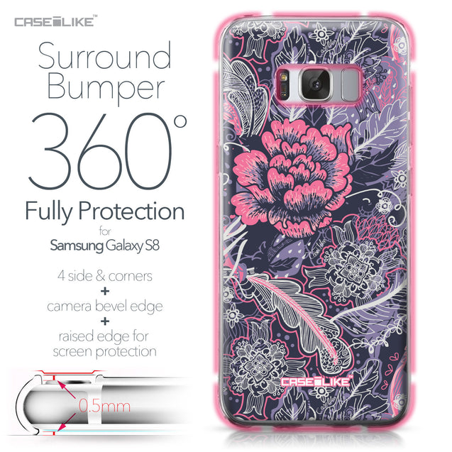 Samsung Galaxy S8 case Vintage Roses and Feathers Blue 2252 Bumper Case Protection | CASEiLIKE.com