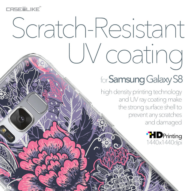 Samsung Galaxy S8 case Vintage Roses and Feathers Blue 2252 with UV-Coating Scratch-Resistant Case | CASEiLIKE.com