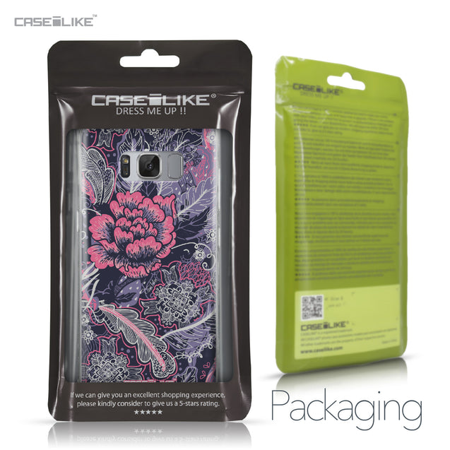 Samsung Galaxy S8 case Vintage Roses and Feathers Blue 2252 Retail Packaging | CASEiLIKE.com
