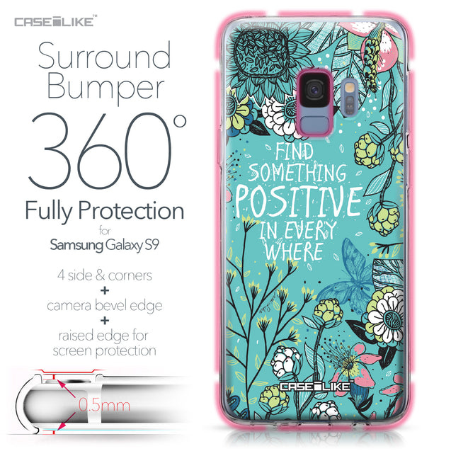 Samsung Galaxy S9 case Blooming Flowers Turquoise 2249 Bumper Case Protection | CASEiLIKE.com