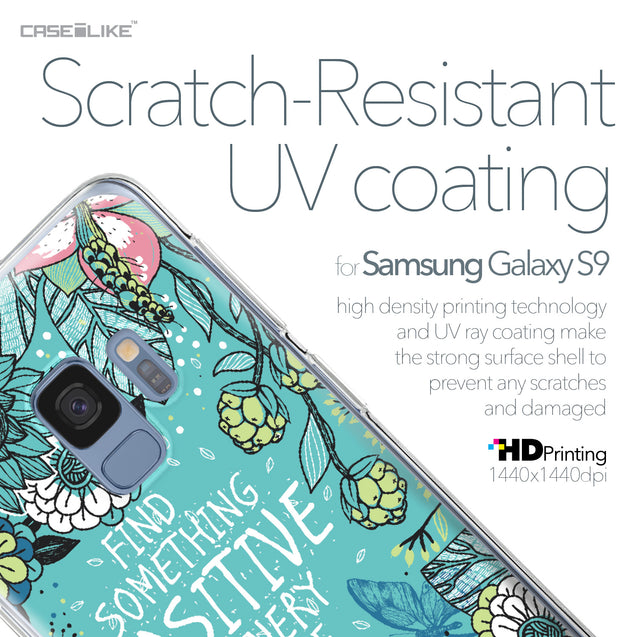 Samsung Galaxy S9 case Blooming Flowers Turquoise 2249 with UV-Coating Scratch-Resistant Case | CASEiLIKE.com