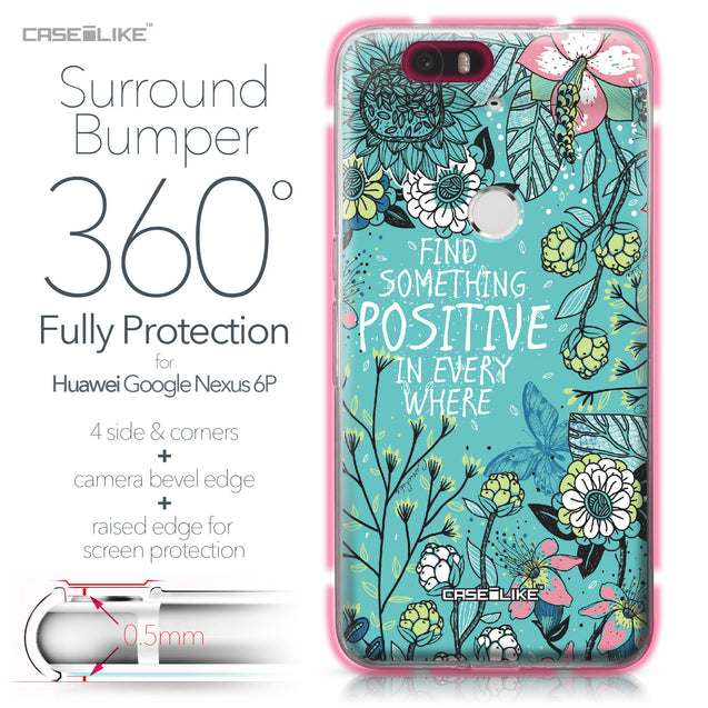 Huawei Google Nexus 6P case Blooming Flowers Turquoise 2249 Bumper Case Protection | CASEiLIKE.com