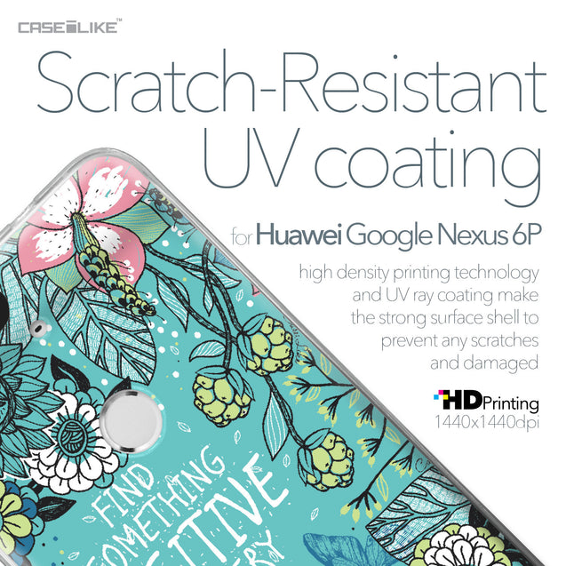 Huawei Google Nexus 6P case Blooming Flowers Turquoise 2249 with UV-Coating Scratch-Resistant Case | CASEiLIKE.com
