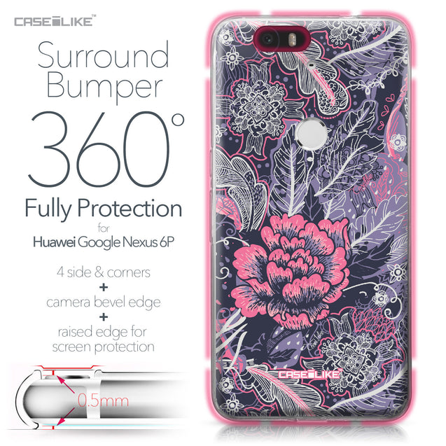 Huawei Google Nexus 6P case Vintage Roses and Feathers Blue 2252 Bumper Case Protection | CASEiLIKE.com