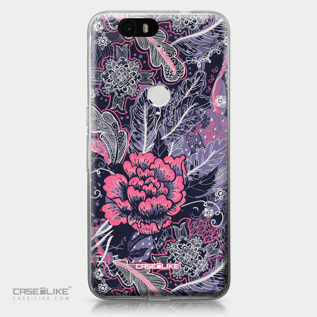 Huawei Google Nexus 6P case Vintage Roses and Feathers Blue 2252 | CASEiLIKE.com