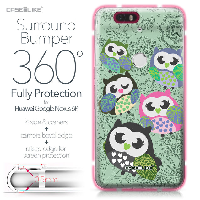 Huawei Google Nexus 6P case Owl Graphic Design 3313 Bumper Case Protection | CASEiLIKE.com