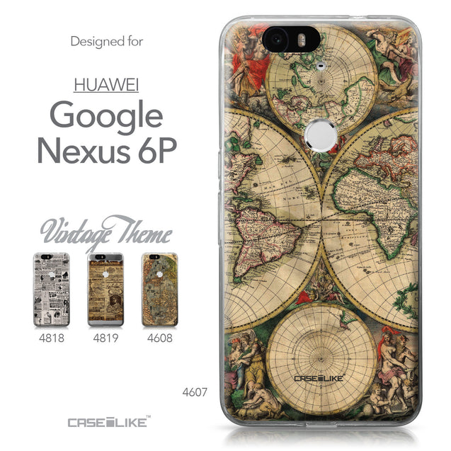 Huawei Google Nexus 6P case World Map Vintage 4607 Collection | CASEiLIKE.com