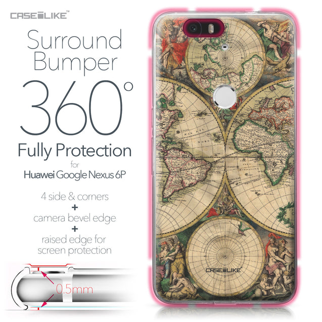 Huawei Google Nexus 6P case World Map Vintage 4607 Bumper Case Protection | CASEiLIKE.com