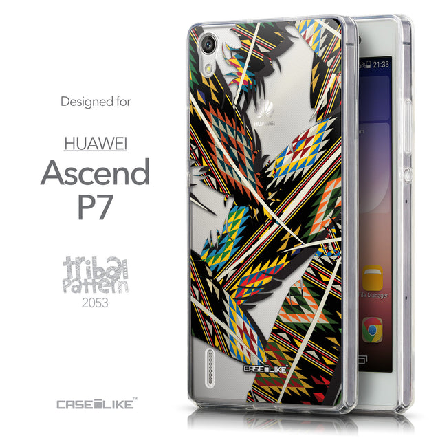 Front & Side View - CASEiLIKE Huawei Ascend P7 back cover Indian Tribal Theme Pattern 2053