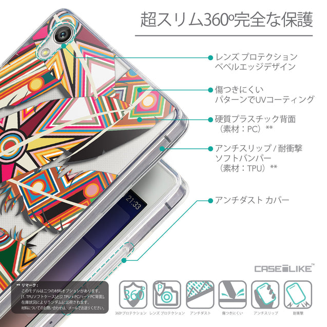 Details in Japanese - CASEiLIKE Huawei Ascend P7 back cover Indian Tribal Theme Pattern 2054