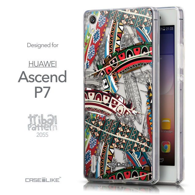Front & Side View - CASEiLIKE Huawei Ascend P7 back cover Indian Tribal Theme Pattern 2055