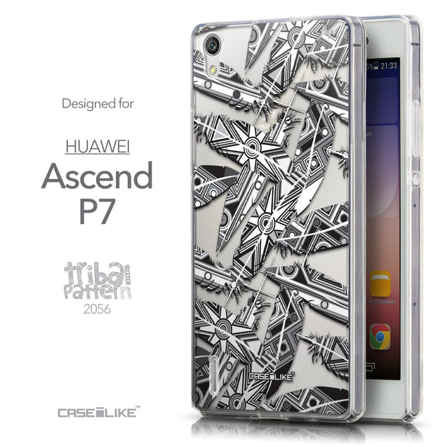 Front & Side View - CASEiLIKE Huawei Ascend P7 back cover Indian Tribal Theme Pattern 2056