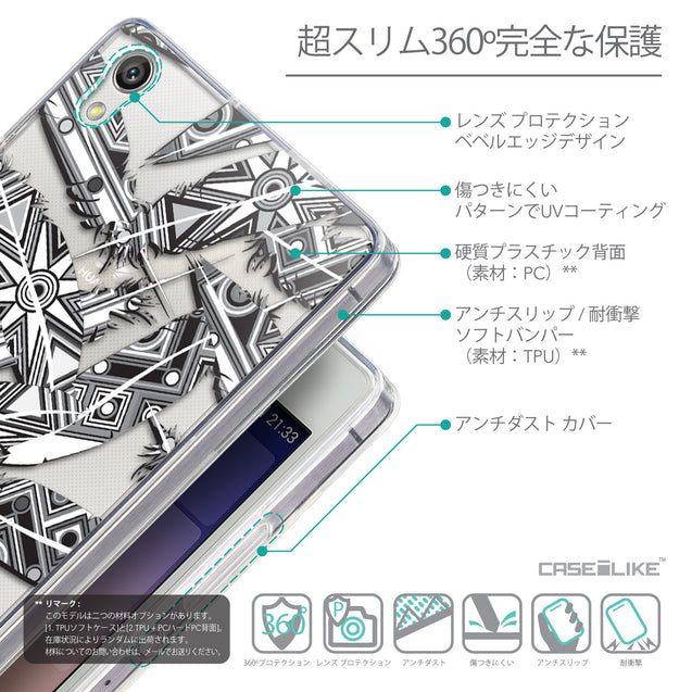 Details in Japanese - CASEiLIKE Huawei Ascend P7 back cover Indian Tribal Theme Pattern 2056