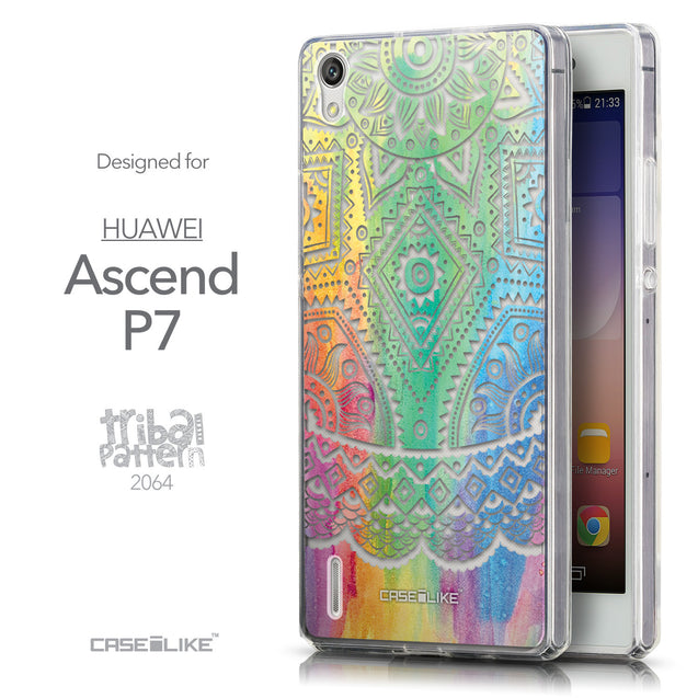 Front & Side View - CASEiLIKE Huawei Ascend P7 back cover Indian Line Art 2064