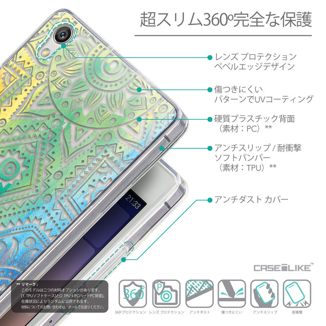 Details in Japanese - CASEiLIKE Huawei Ascend P7 back cover Indian Line Art 2064