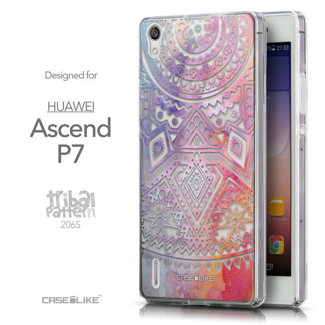 Front & Side View - CASEiLIKE Huawei Ascend P7 back cover Indian Line Art 2065