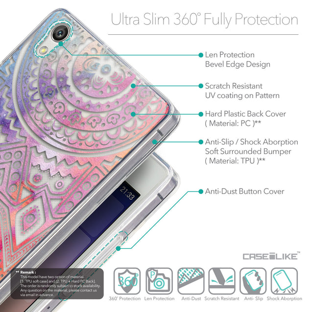 Details in English - CASEiLIKE Huawei Ascend P7 back cover Indian Line Art 2065