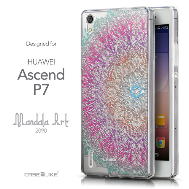 Front & Side View - CASEiLIKE Huawei Ascend P7 back cover Mandala Art 2090