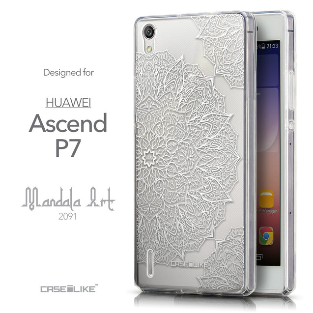 Front & Side View - CASEiLIKE Huawei Ascend P7 back cover Mandala Art 2091